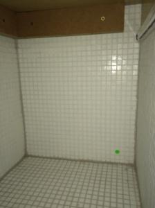 Eine Ecke im Bad - November 2014: Eindeutiger Schimmelherd, aber nach außen nichts zu sehen.